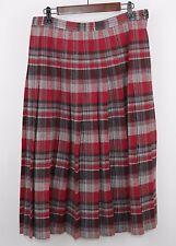 PENDLETON 100% Wool Red Black Gray Plaid Pleated Long Skirt - Women's 16