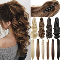 """100% Real Thick Claw Clip On Ponytail 18-26"""" Long Soft As Human Hair Piece US Po"""