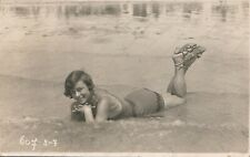 Alice Magnonca Risque old vintage erotic photo Lady lying in sea beach
