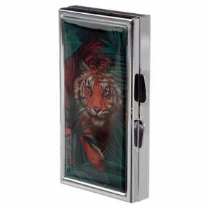Tiger 7 Day Pill Box With Mirror - Storage Tin Tablet Medication Medicine Case