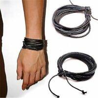 Mens Boys Handmade Leather Braided Surfer Wristband Bracelet Bangle Wrap Jewelry
