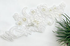 """8""""X3"""" white embroidered beaded patch for Diy Sewing Notions Crafts Wedding"""