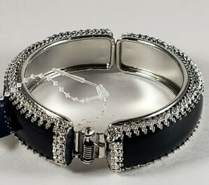 Trim Shiny Crystals Stones on Silver and Black Bangle Bracelet for Women