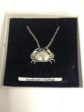 "Crab PP-SS02 Emblem Silver Platinum Plated Necklace 18"""