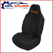 HITACHI BRANDED HEAVY DUTY EMBROIDERED FRONT SEAT COVER (BLACK)