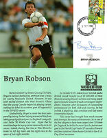 FOOTBALL WORLD CUP 1990 NEVIS FDC SIGNED BY ENGLAND CAPTAIN BRYAN ROBSON