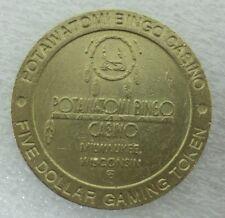Potawatomi Casino $5.00 Brass Gaming Token Milwaukee, WI