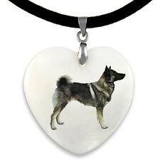 Norwegian Elkhound Dog Natural Mother Of Pearl Heart Pendant Necklace Chain Pp47