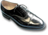 SANDERS OFFICERS LEATHER SHOES, UK-MADE, BLACK or BROWN [70425]