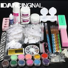 Nail Art Kit Acrylique Poudre Paillette Liquide UV Gel Ongle Pinceaux Manucure