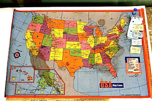 1986 Lakeshore USA Map Carpet Game Toys To Grow On Question & Answer Durable