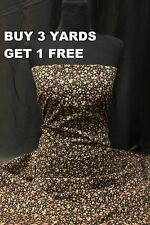 Small Flowers Ditsy Black Pink Cotton print fabric material dress-making crafts