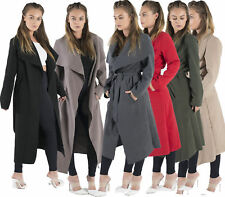 Ladies Long Duster Jacket Ladies French Belted Trench Waterfall Coat plus 8 - 26