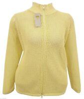 UK SELLER Size 16-26 Yellow Knit Zip Jacket Turtle Neck Cardi Top *LICK*