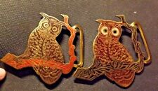 2 Nice Different Colored Large Owl Belt Buckles Made in India R&R Imports
