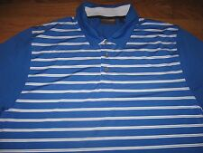 Jim Furyk Collection L Hawke & Co Profunction Polo Shirt Blue Stripe GOLF Top