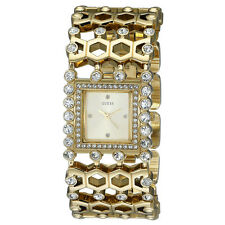 NEW GUESS WATCH for Women * Wide Cuff Gold Tone Bracelet w/Crystals * U0574L2