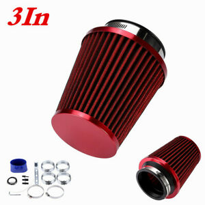 3In Cold Air Filter Intake Injection Kit Aluminium Pipe System Car Accessory Red