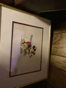 """Limited edition Framed Serigraph Walt Disney Mickey and Minnie """"On Ice"""""""
