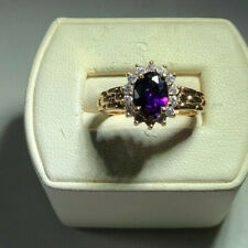 Clear Cubic Zirconia Ring, size 8 Vintage Sterling Silver Gold wash Purple and