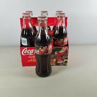 Coke Bottles Christmas Santa 6 Pack 1997 8oz Bottles Vintage Coca Cola