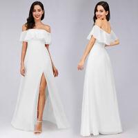 Ever-Pretty Women's A-Line Off Shoulder Ruffle Thigh Split Bridesmaid Prom Dress