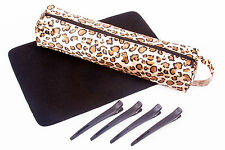 HAIR STRAIGHTENERS GIFT SET: Leopard HEATPROOF BAG, Heat proof MAT & CLIPS