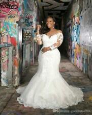 Long Sleeves Plus Size Mermaid Lace Wedding Dresses Vintage Country Boho custom