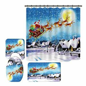 Christmas Printing Santa Claus Bathroom Decoration Shower Mat Toilet Lid Cover