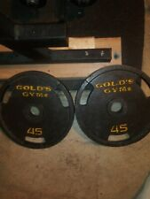 """VINTAGE 45Lb Golds Gym 2"""" Olympic Weight Plates Set Of 2 90lb Total"""