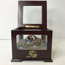 """Mr. Christmas Music Box Rotating Wind Up Plays """"Away in A Manger"""" Holiday Wooden"""