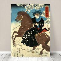 "Traditional Japanese SAMURAI Kabuki Art CANVAS PRINT 24x18""~ Horse Rider #23"