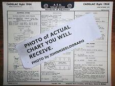 1964 Cadillac EIGHT Series 60, 62, 63, 67, 68 & 75 Models AEA Tune Up Chart