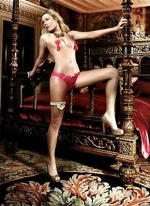 Stunning Crotchless Patterned Tulle Panties with Lace Borders and Satin Ribbons