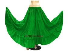 Black - Cotton 4 Tier 6 Yard Skirt Maxi Belly Dance Gypsy Flamenco Tribal Jupe