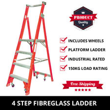 4 Step Fibreglass Platform Ladder + Wheels 1.2M-2.10M Industrial Rated 150kg