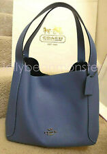 COACH 73549 HADLEY LEATHER HOBO SHOULDER BAG PURSE Stone Blue NEW