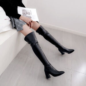 Sexy Women Over Knee High Thigh Boots Block Heels Pointy Toe Winter Party Shoes