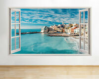 H910 Coast Seaside Town Ocean Blue Window Wall Decal 3D Art Stickers Vinyl Room