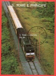 Sao Tome und Principe Block 209 gestempelt, Lokomotiven - Transgabunbahn