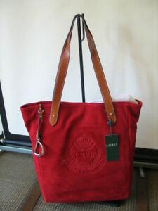 Lauren by Ralph Lauren Red Suede Putnum Tote / Shoulder Bag Equestrian Feature