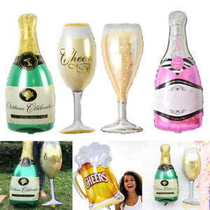 1x Champagne Bottle Glass Foil Balloons Happy Birthday Wedding Party Decoration