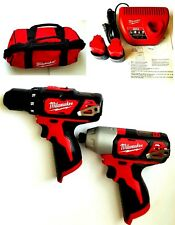 Milwaukee M12 Cordless Drill/Driver,Hex Impact Driver, (2) Batteries,Charger,Bag