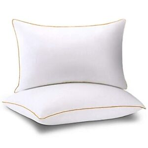 Bed Pillows for Sleeping Queen Size Set of 2, Hotel Collection Gel Plush Fiber P