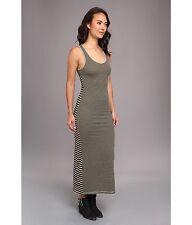 Vans Womens/Juniors M MED Jaelyn Green Black Striped Long Dress Open Back Maxi