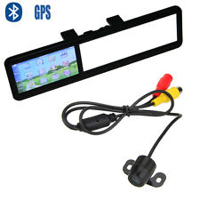 "4.3"" LCD Car Bluetooth GPS Navigator Rear View Mirror Monitor+Backup Camera Unit"