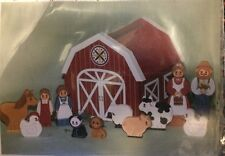 Toy Wooden Farm Set To Be Painted Barn Family Animals Vintage Provo Craft