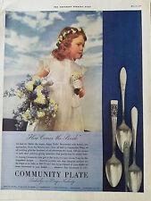 1937 Community Platte Coronation Flower Girl von Braut Farbe Original Anzeige