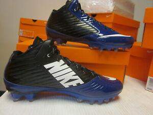 Nike Mens 10.5 Vapor Speed 3/4 TD PF Football Cleats Black White Blue 668839 014