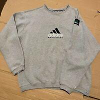 Vintage 90's Grey Adidas Equipment EQT Sweatshirt Jumper Pullover Logo Size M
